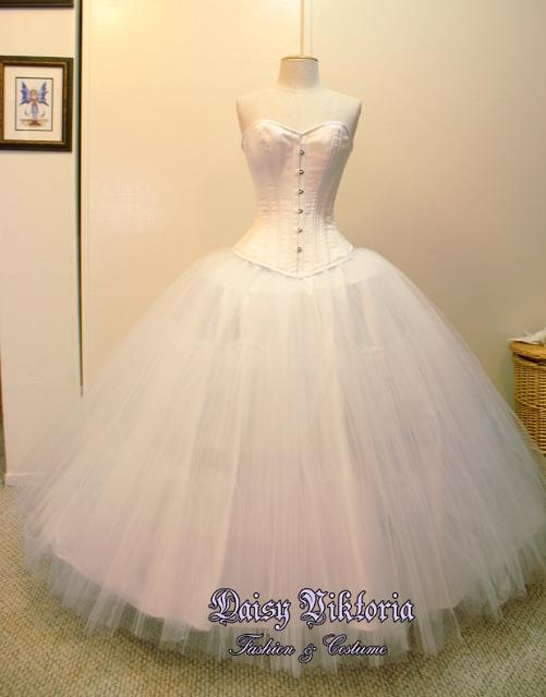 6fdbf2987e8 White Satin or Silk Overbust Corset - Daisy Viktoria