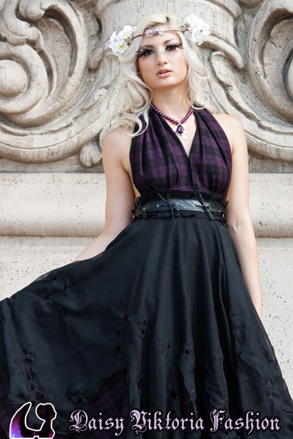 plaid black halter gown