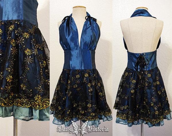 blue gold lace halter dress