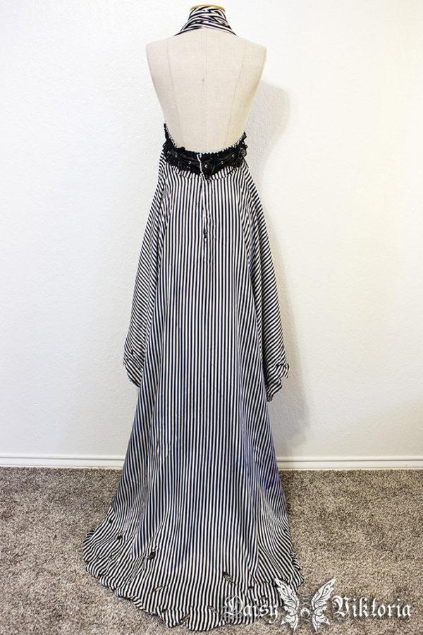 striped halter gown