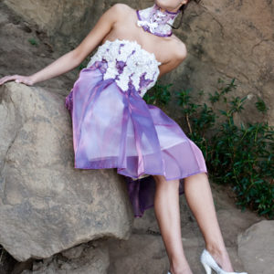 purple white beaded applique fairy dress