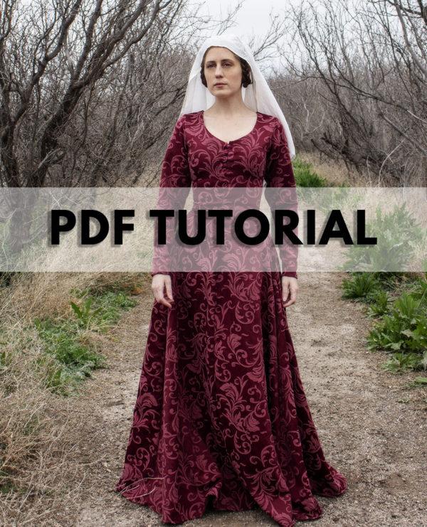 Medieval gown cotte cotehardie kirtle PDF tutorial pattern