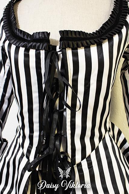 black white striped gothic rococo gown