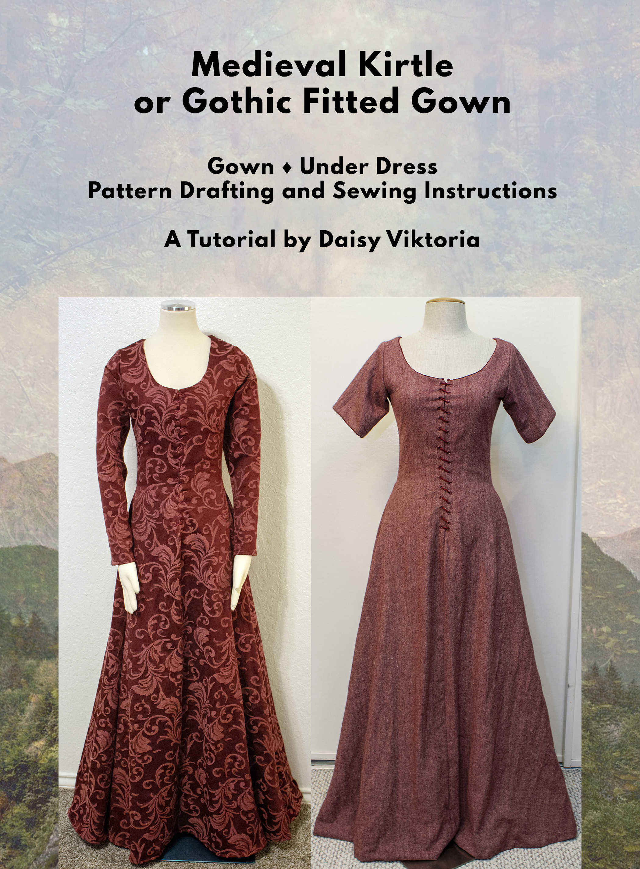 Medieval Dress - Kirtle, Cotehardie, Gothic Fitted Gown, 14th century SCA  garb - PDF Tutorial