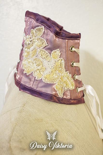 purple white beaded applique fairy dress