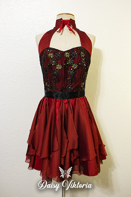 red embroidered lace halter fairy dress