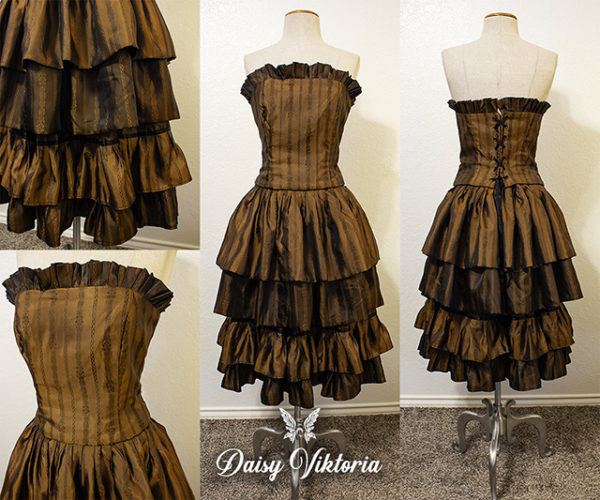striped ruffle brown steampunk dress
