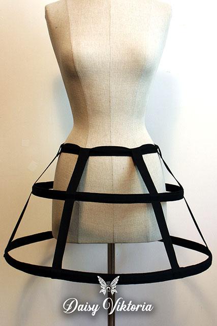 black mini cage hoop skirt