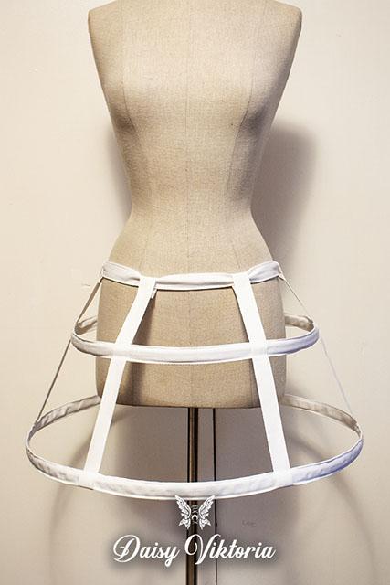 white mini cage hoop skirt